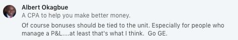 Linkedin User weighs in on GE